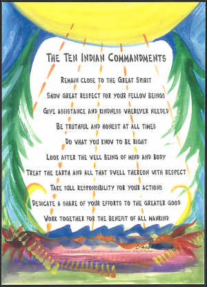 Heartful Art Online Ten Indian Commandments Poster 5x7